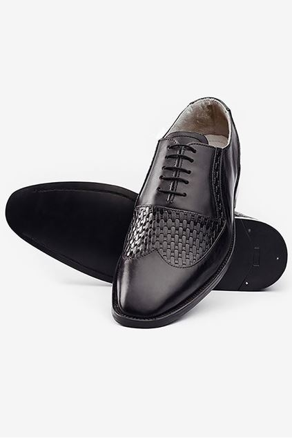 Footprint - Black Fashion Textured Leather Lace Up