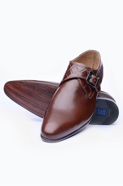 Footprint - Brown Formal Textured Leather Monk