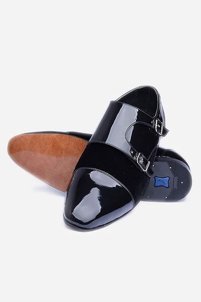 Footprint - Black Fashion Velvet Double Monk