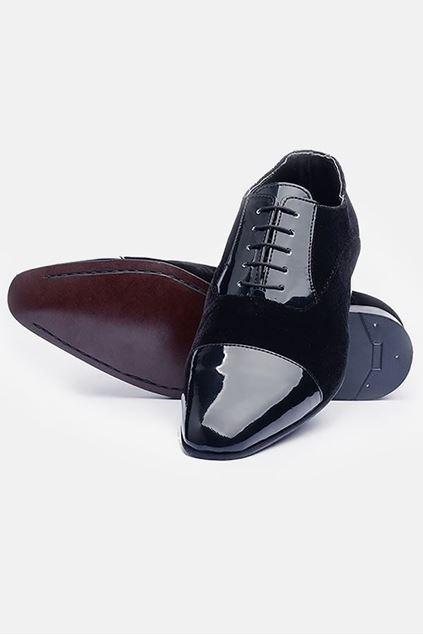 Footprint - Black Fashion Leather Velvet Oxford