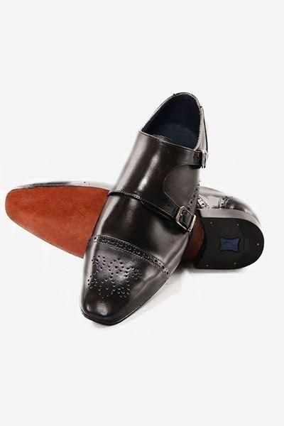 Footprint - Black Fashion Leather Brogue Double Monk