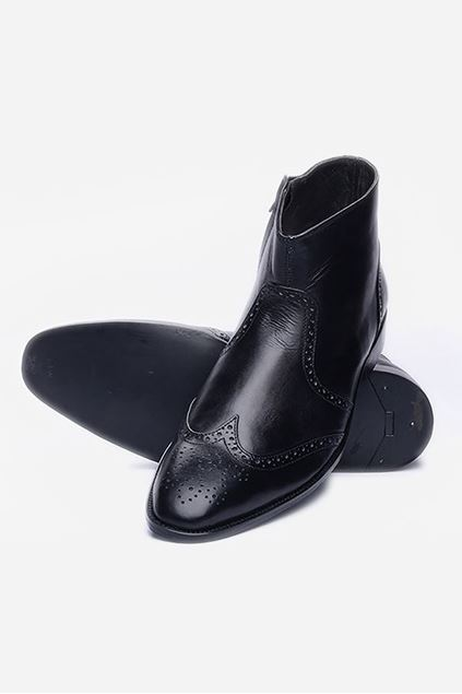 Black Leather Zipper Brogue Boots
