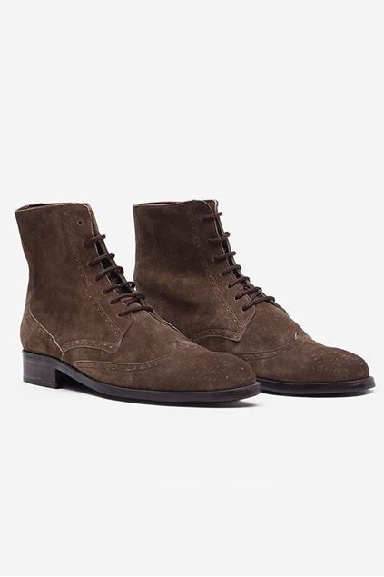 Brown Suede Leather lace-up Brogue Boots