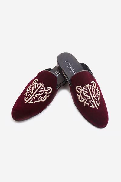 Footprint - Red Casual Velvet Slippers