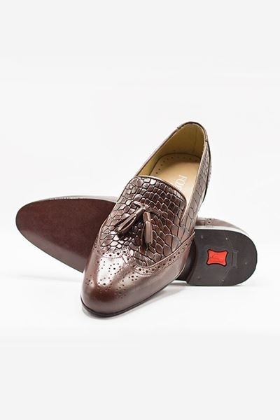 Footprint - Red Casual Reptile Texture Loafer