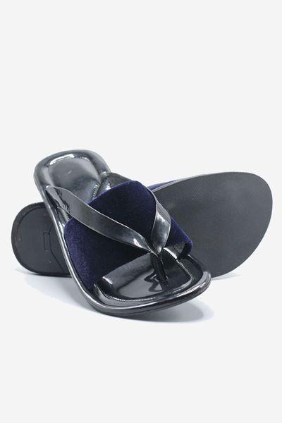 Footprint - Black Casual Leather Velvet Slippers