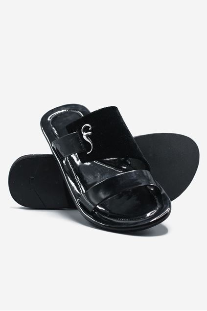 Footprint - Black Casual Leather Velvet Slippers