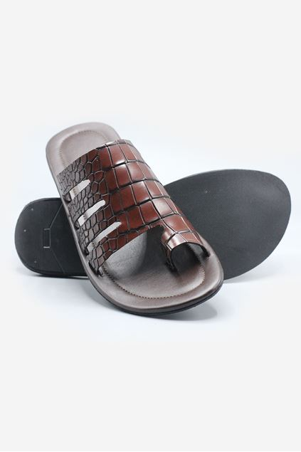 Brown Stamped Leather Chappal