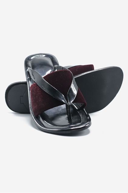 Maroon Leather and Velvet Chappal